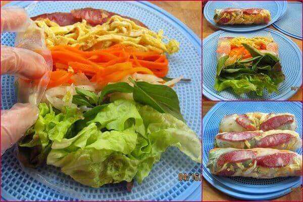 Lần lượt cho xà lách, rau thơm, trứng, cà rốt, củ đậu, lạp xưởng vào