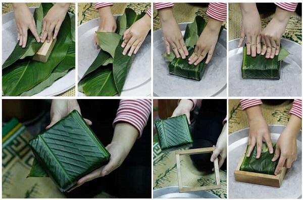 Bắt đầu gói bánh bạn xếp lá dong như gói bằng tay, sau đó, đặt khuôn lên trên