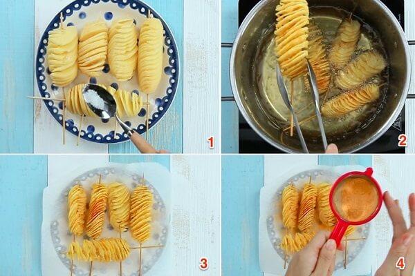 Quá trình chiên và tẩm ướp gia vị khoai tây lốc xoáy
