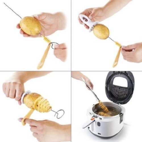 Cách làm khoai tây lốc xoáy không cần máy tại nhà, 5 bước làm bằng tay đơn giản 2