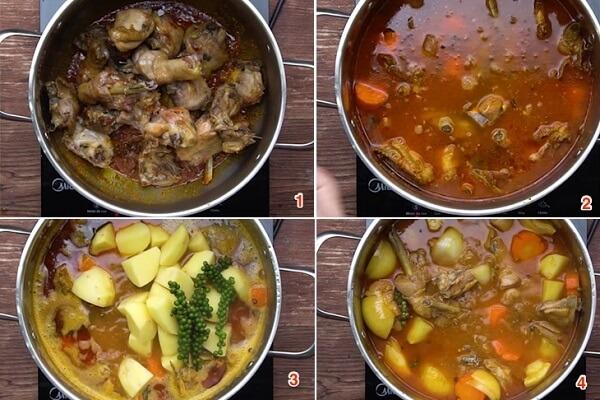 Đun sôi rồi cho pate, cà rốt và khoai tây