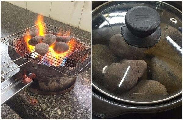 Cho từng viên đá cuội lên nướng đến khi đá đỏ và thật nóng.