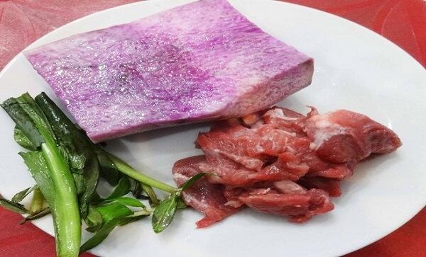 nguyên liệu canh khoai mỡ thịt bằm - Cách nấu canh khoai mỡ thịt bằm