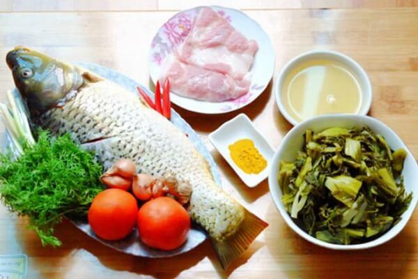 Nguyên liệu cho canh cá chép om dưa