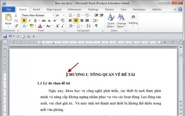 Đặt trỏ chuột vào đầu trang word