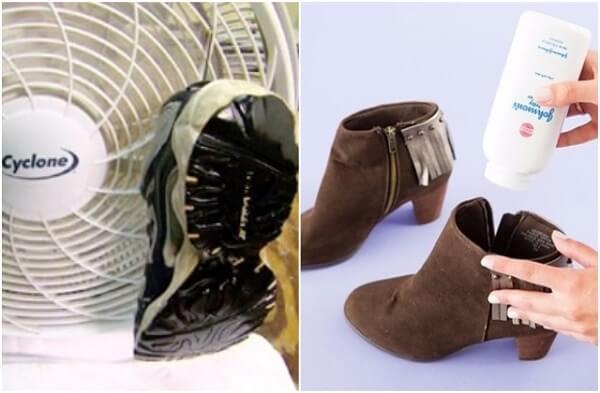 Có thể đặt vào giày gói chống ẩm hay rắc một ít phần rơm