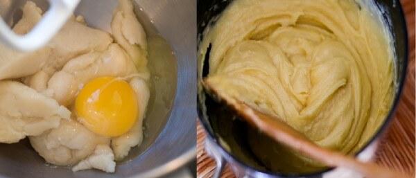 Cho trứng vào đánh đều với hỗn hợp bột mì và sữa