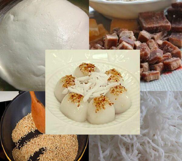 Các phần nguyên liệu chính để làm bánh trôi nước - cach lam banh troi nuoc