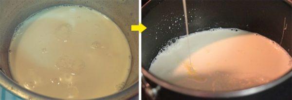 Đun sữa hạt sen và cho đường + muối + sữa chua cái