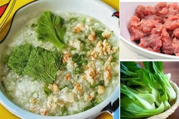 Món cháo thịt bằm rau cải - cách nấu cháo thịt bằm
