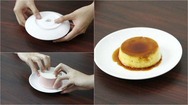 Úp bánh ra đĩa và thưởng thức kèm với cà phê, nước cốt dừa