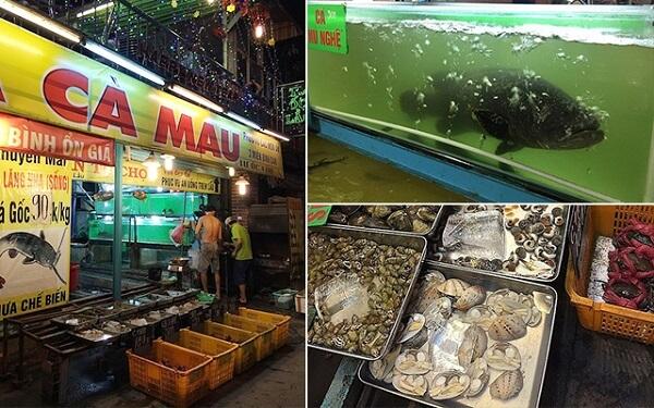 Vựa hải sản Tư Ốc Lầu kinh doanh cả mặt hàng hải sản tươi sống và quán ăn.