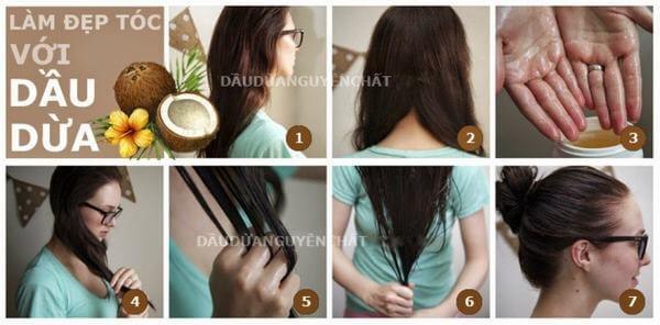 Sau khi nhuộm mẹ bầu có thể dùng dầu dừa để dưỡng lại mái tóc
