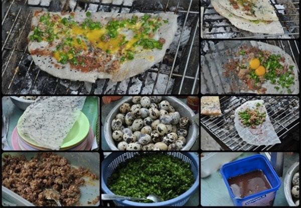 Cách làm bánh tráng nướng Đà Lạt trứng cút mỡ hành ngon giòn công thức 1