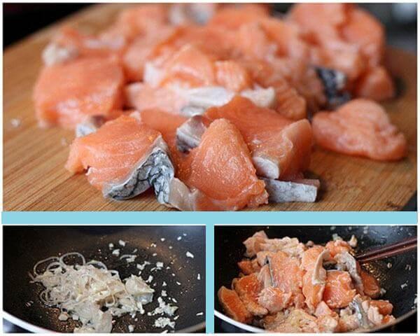 Xào thơm phần thịt cá hồi – Cách nấu cháo cá hồi cho bé ăn dặm