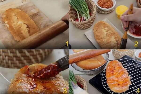 Cán bánh mì rồi phết sốt lên và nướng