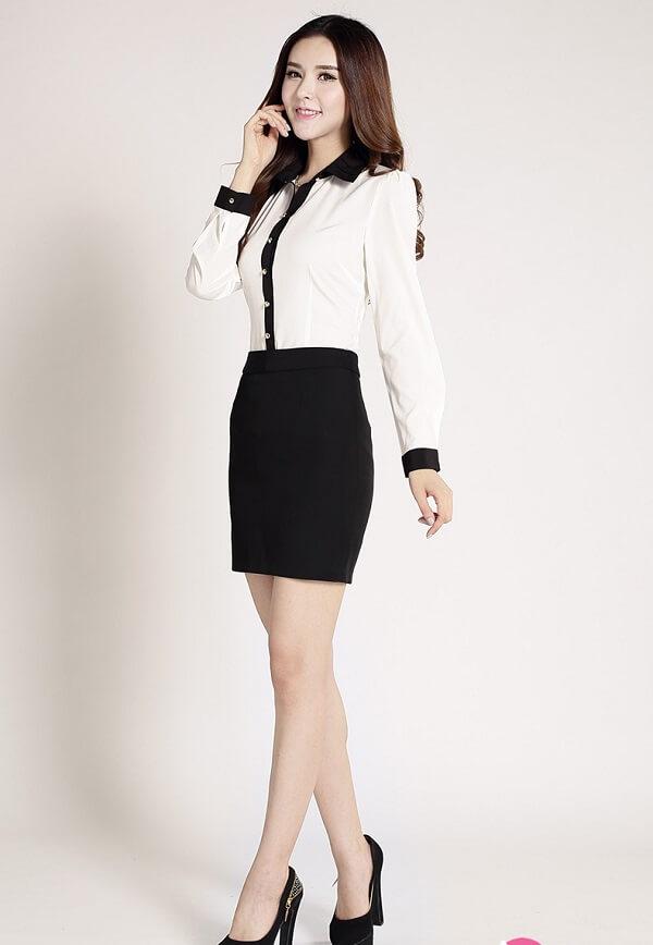 Sơ mi trắng cách tân - Các kiểu áo sơ mi công sở nữ đẹp, áo sơ mi nữ Hàn Quốc cao cấp