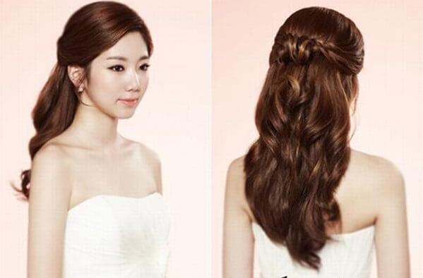 40+ kiểu tóc cô dâu đẹp đơn giản mà đẹp dễ thương trong ngày cưới, kiểu tóc Hàn Quốc cho mặt tròn 19