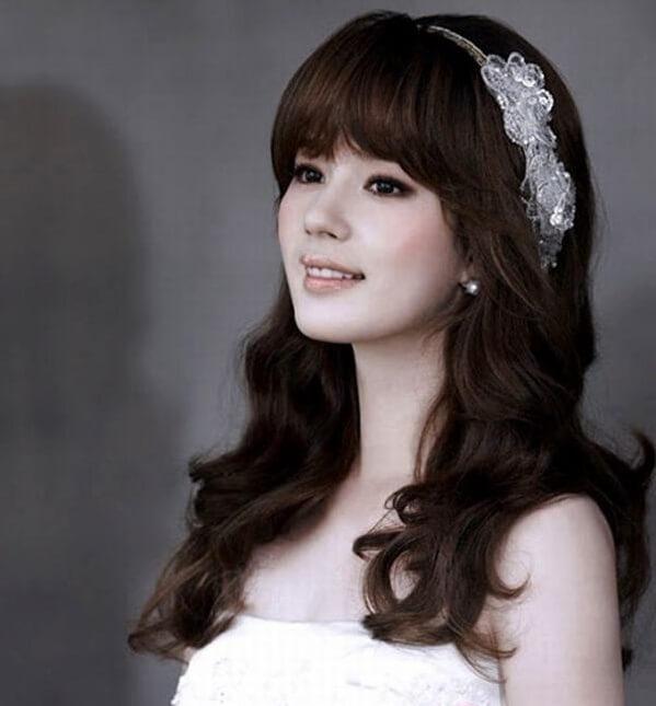 40+ kiểu tóc cô dâu đẹp đơn giản mà đẹp dễ thương trong ngày cưới, kiểu tóc Hàn Quốc cho mặt tròn 3