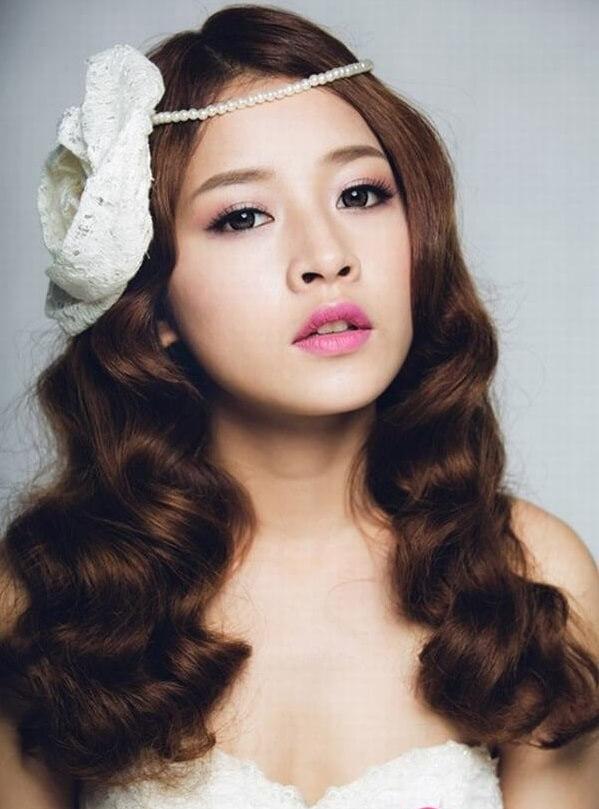 40+ kiểu tóc cô dâu đẹp đơn giản mà đẹp dễ thương trong ngày cưới, kiểu tóc Hàn Quốc cho mặt tròn 4