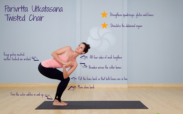 Tư thế yoga Chair Twisted Pose bắt đầu bằng tư thế đứng thẳng người và hai chân khép