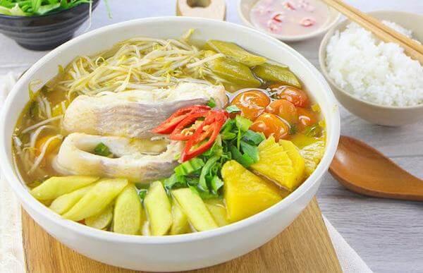 Cách Nấu Canh Chua Cá Diêu Hồng đậu bắp bạc hà
