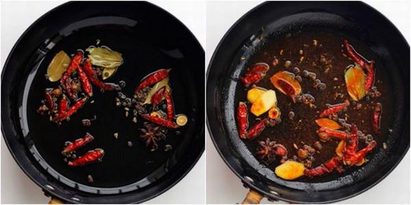 Bước này sẽ giúp các loại gia vị tiết ra hương thơm đặc trưng