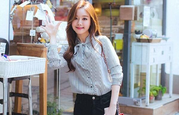 Các mẫu áo, kiểu áo sơ mi công sở nữ đẹp cao cấp phong cách Hàn Quốc 2018