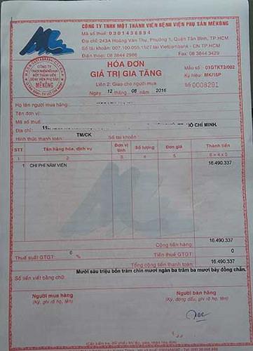 Tổng chi phí sinh tại bệnh viện phụ sản Mekong của 1 mẹ