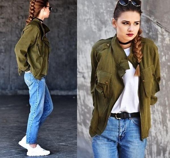 Áo xanh rêu mix cùng quần jean xanh cá tính – Cách phối đồ màu xanh rêu kết hợp với màu nào