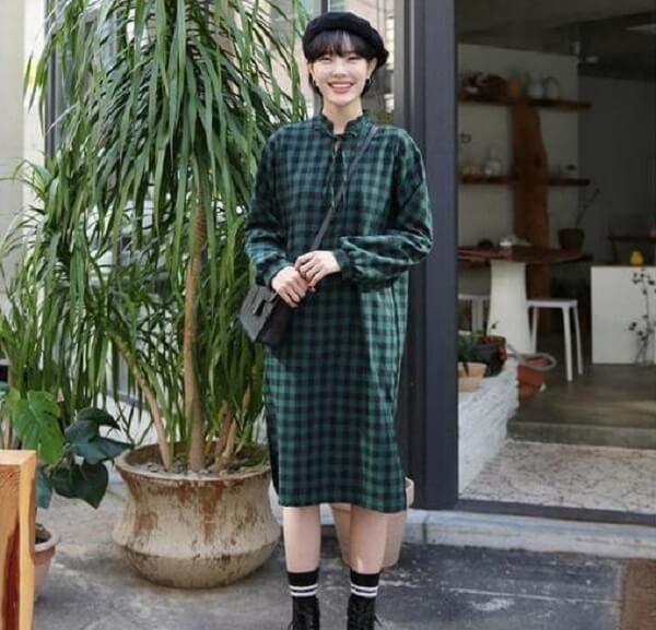 Diện đầm sơ mi cực chất – Cách phối đồ màu xanh rêu kết hợp với màu nào thì đẹp, áo, váy