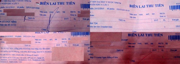 Biên lai thu tiền thực hiện các cận lâm sàng (từ 01 phiếu chỉ định cận lâm sàng, Thu ngân sau khi thu tiền xong sẽ inra biên lai cho từng cận lâm sàng khác nhau và đưa lại cho anh/chị)