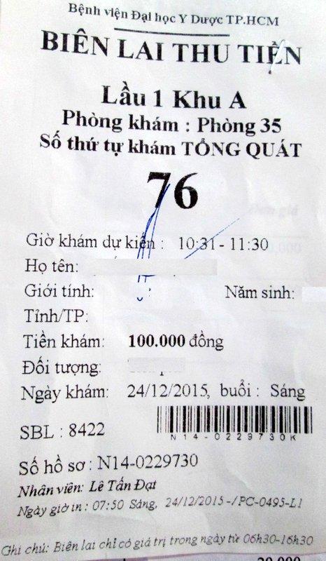 Biên lai thu tiền khám chuyên khoa – ở hình trên là chuyên khoa Tổng quát (chú ý trên phiếu có ghi Phòng khám nào, số thứ tự, thời gian dự kiến được khám)