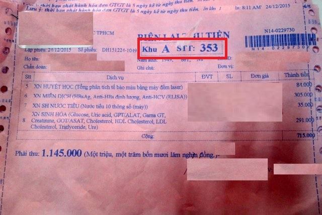 Trên biên lai thu tiền của Xét nghiệm có số thứ tựlà 353, tại phòng Xét nghiệm khu A