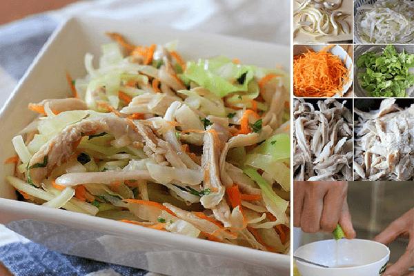 Sơ chế phần thịt gà ta, cà rốt và bắp cải