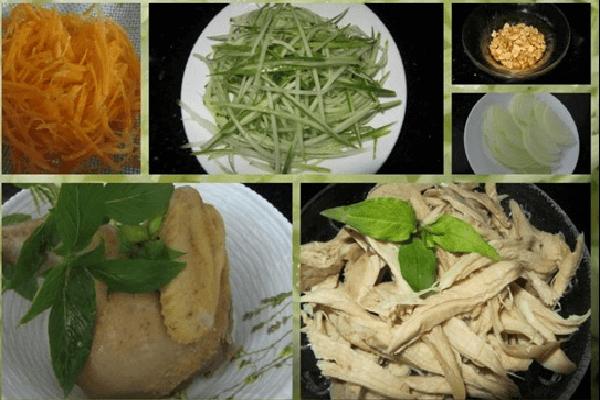 Trộn phần gỏi gà với bắp cải