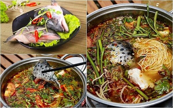 Đặt nồi lẩugiữa bàn và xếp đĩa cá hồi phi lê, các loại rau nhúng lẩu, đậu phụ non, bún,…xung quanh