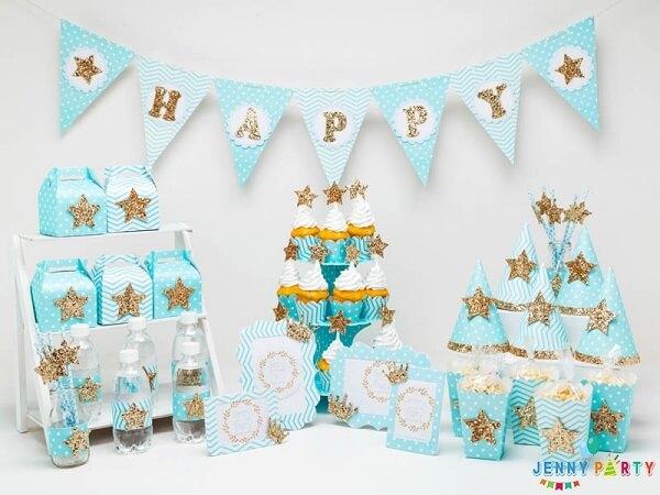 Chủ đề Blue gold - Cách trang trí sinh nhật tại nhà bằng bong bóng cho bé