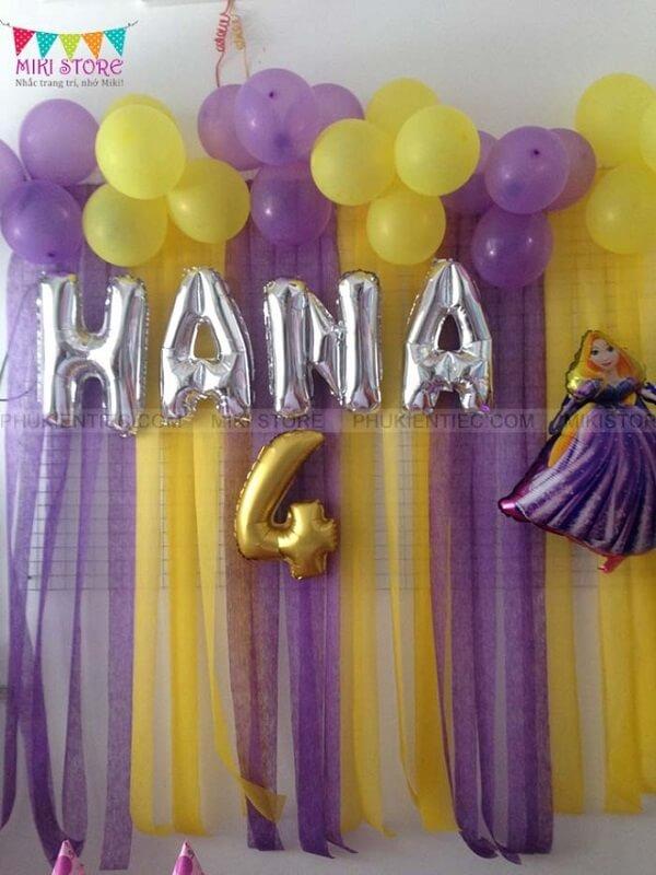 Trang trí sinh nhật tại nhà bé gái chủ đề Rapunzel