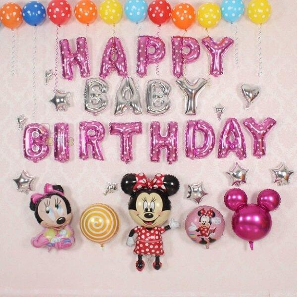 Trang trí tường bong bóng chủ đề Minnie Mouse cho các bé gái
