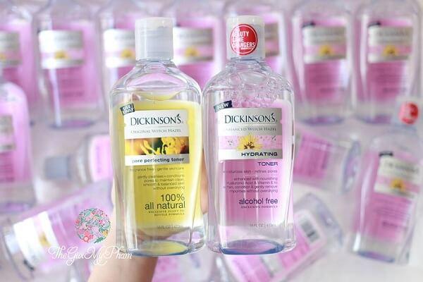 Nước hoa hồng Dickinson's Enhanced Witch Hazel Hydrating cho da nhạy cảm, da khô (chai màu hồng)