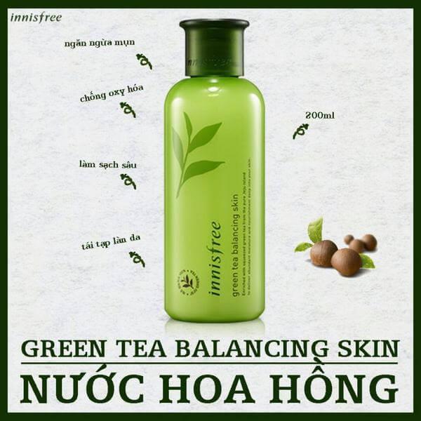 Review Nước hoa hồng Innisfree Green Tea Balancing Skin (Trà xanh) cho da mụn, da dầu