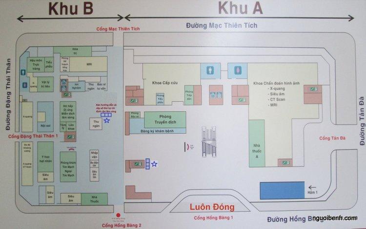 Sơ đồ khu khám bệnh của bệnh viện đại học y dược TPHCM (click vào ảnh để phóng to và zoom vàovị trí muốn xem)