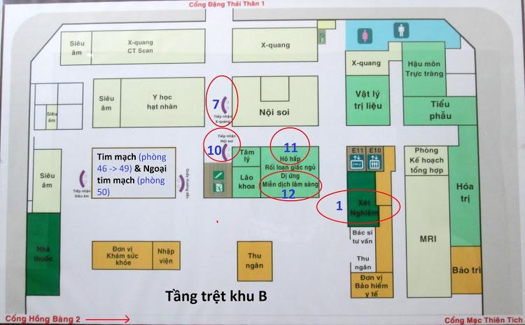 Bản đồ vị trí thực hiện cận lâm sàng và các chuyên khoa (click vào ảnh để phóng to và zoom vàovị trí muốn xem)