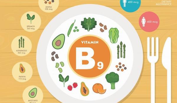 Tác dụng của Vitamin B9 (Axit folic)