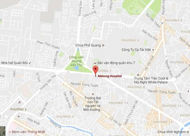 Bệnh viện phụ sản MêKông nằm tại số 243 Hoàng Văn Thụ, phường 1, Quận Tân Bình, TPHCM