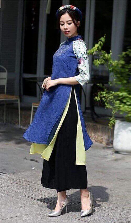 Quần culottes có thể kết hợp hài hòa cùng với áo dài cách tân