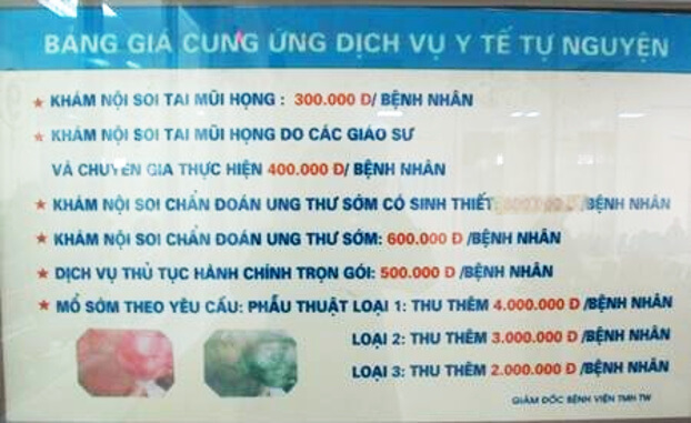 Giá khám dịch vụ tự nguyện tại Bệnh viện Tai mũi họng Trung ương