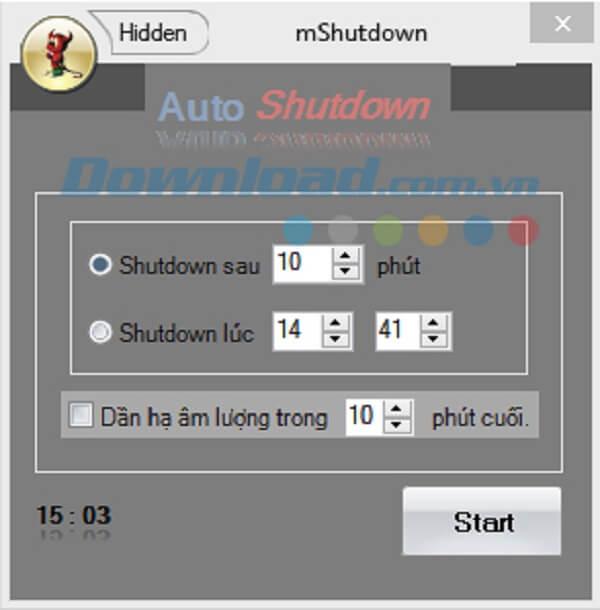 Hướng dẫn dùng phần mềm hẹn giờ tắt máy mShutdown