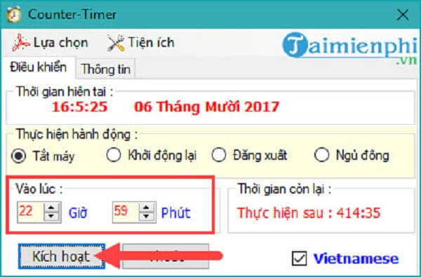 Cách hẹn giờ tắt máy tính với phần mềm Counter Timer